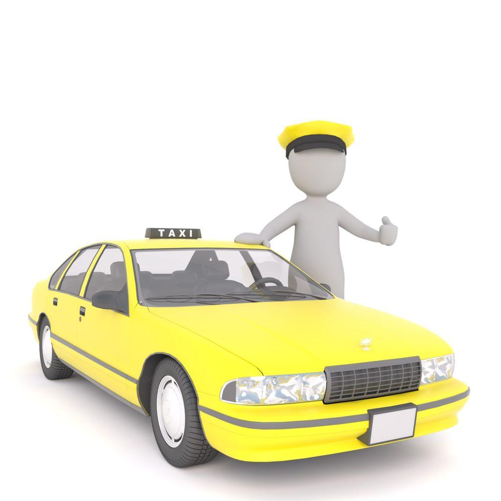 Na jasny tle rysunek żółtej taksówki z białą postracią obok.