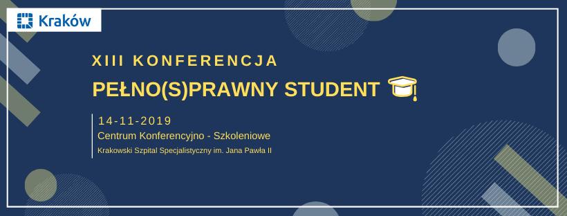 Na ciemnym tle nazwa oraz informacje o konferencji Pelno(s)prawny student.