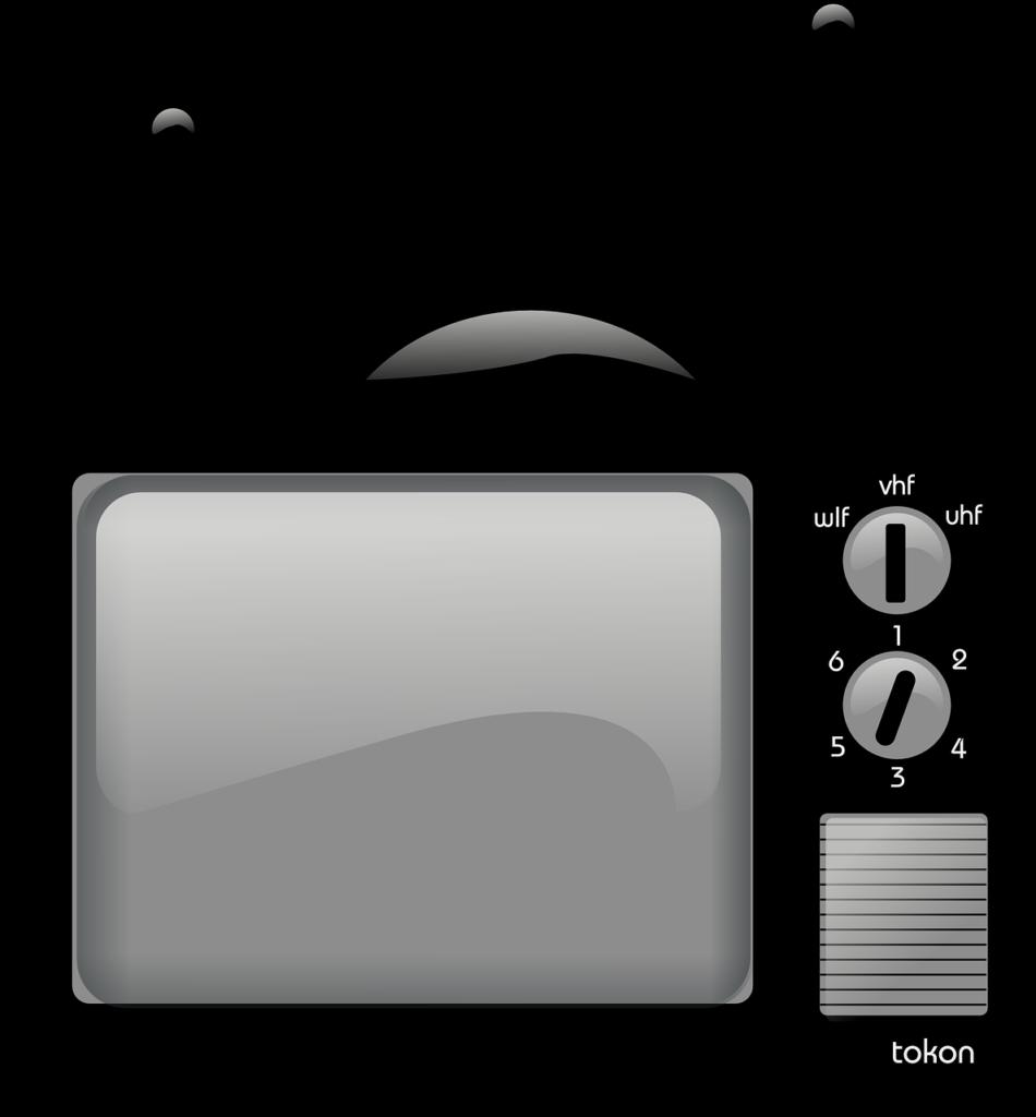 Na jasnym tle czarny telewizor.