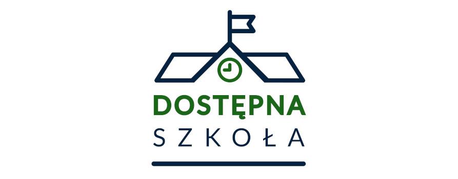 Logo projektu Dostępna szkoła, przedstawia zarys dachu budynku na którym w centralnym miejscu znajduje się zegar a nad nim flaga. Poniżej dachu napis DOSTĘPNA SZKOŁA