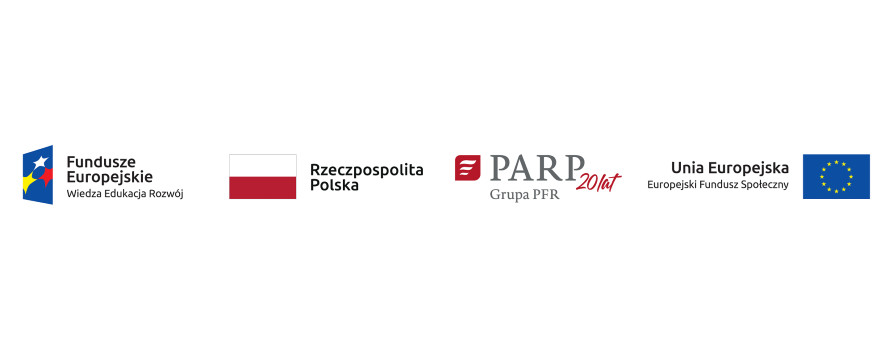logotypy: Funduszy Europejskich, Rzeczpospolitej Polskiej, PARP, UE