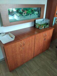 wnętrze klasy bilogicznej z dużym akwarium z rybkami na ścianie