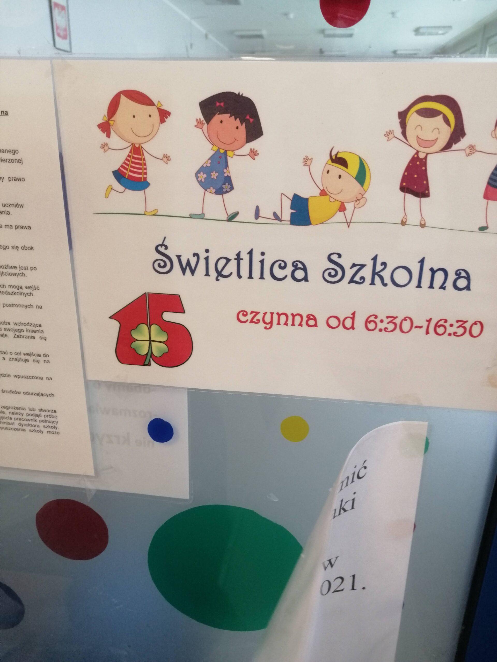 tablica z napisem świetlica szkolna
