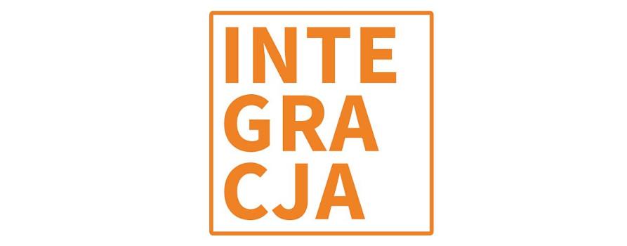 Logo Fundacji Integracja. Pomarańczowy napis INTEGRACJA na białym tle.